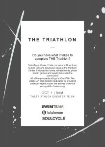 THE Triathlon, benefitting One with the Water!